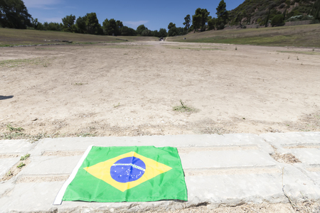 Olympia, Greece- August 9, 2015: The Brazilian flag for the next Olympics at Olympia, birthplace of the Olympic games, in Greece.