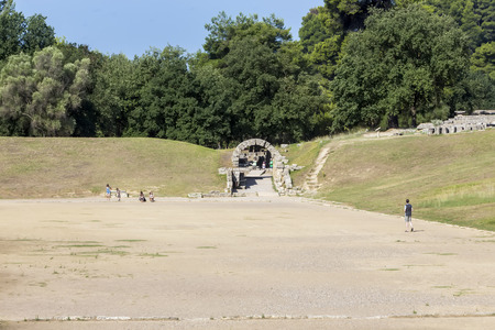 ruins is ancient: Olympia, birthplace of the Olympic games, in Greece. Stock Photo