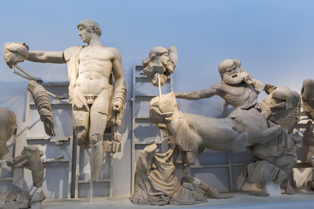 thessaly: West pediment of the temple of Zeus at Olympia: Thessaly Centauromachy, 472-456 BC Olympia Archaeological Museum.