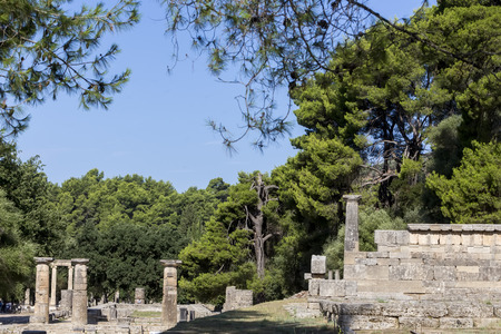 ancient buildings: Olympia, birthplace of the Olympic games, in Greece. Stock Photo