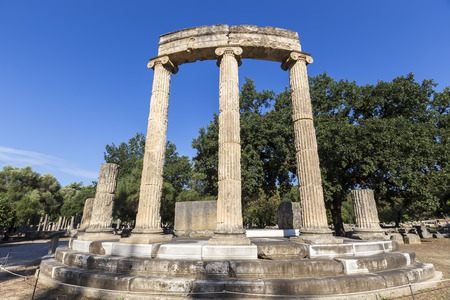 ruins is ancient: remains of the Philippeion at Olympia in Greece