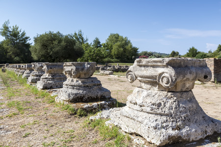 remains: Remains of a Corinthian column in Olympia, Greece Stock Photo