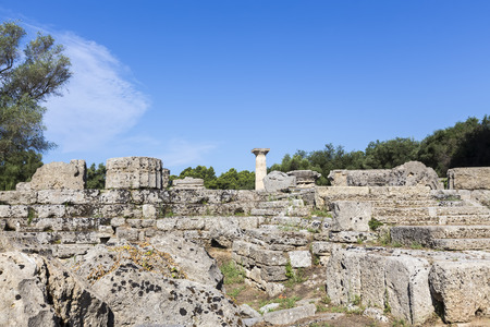 lintels: Ancient ruins of the temple Zeus, Olympia archeological site Peloponnese Greece Stock Photo