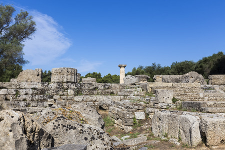 archeological site: Ancient ruins of the temple Zeus, Olympia archeological site Peloponnese Greece Stock Photo