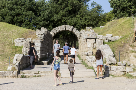 Olympia, Greece- August 9, 2015: Ancient ruins of the Philippeion at Olympia, Greece. The Archaeological Museum of Olympia, the most important of Greece. Editöryel
