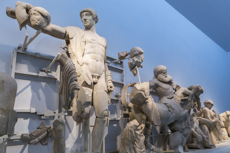 ancient olympic games: West pediment of the temple of Zeus at Olympia: Thessaly Centauromachy, 472-456 BC Olympia Archaeological Museum.