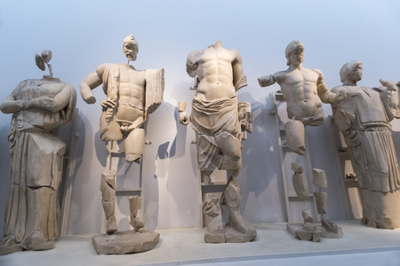 ancient olympic games: East pediment of the temple of Zeus at Olympia: Preparing the chariot race of Pelops and Oenomaus, 472-456 BC Olympia Archaeological Museum. Editorial