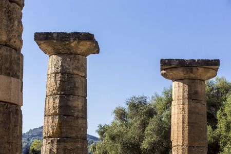 lintels: Remains of Corinthian column in Olympia, Greece