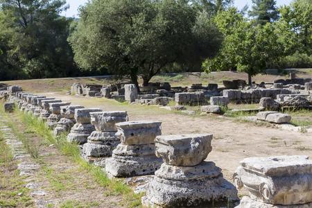 corinthian: Remains of a Corinthian column in Olympia, Greece Stock Photo