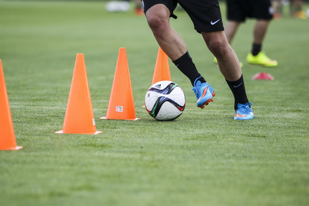 Thessaloniki, Greece- June 2, 2015: Players of Paok training for better shape, in Thessaloniki, Greece. 에디토리얼