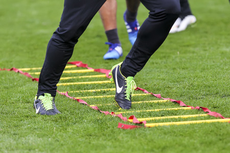 thessaloniki: Thessaloniki, Greece- June 2, 2015: Players of Paok training for better shape, in Thessaloniki, Greece. Editorial