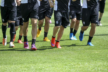 thessaloniki: Thessaloniki, Greece- June 2, 2015: Players of Paok training for better shape, in Thessaloniki, Greece. Editorial