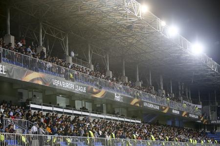 grandstand: Azerbaijan, Baku - September 17, 2015: View of the grandstand in UEFA Europa League game between Qabala and PAOK, in Baku, Azerbaijan.