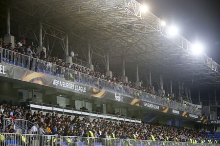 Azerbaijan, Baku - September 17, 2015: View of the grandstand in UEFA Europa League game between Qabala and PAOK, in Baku, Azerbaijan.