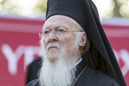 ethnics: Serres, Greece – April 17, 2015: Ecumenical Patriarch Bartholomew visits Serres at the Church of St. Theodore, which will perform a memorial service for the late Metropolitan of Serres Apostle.