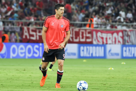 Athens, Greece- September 16, 2015: Robert Lewandowski before the beginning of the UEFA Champions League game between Olympiacos and Bayern, in Athens, Greece. Editorial