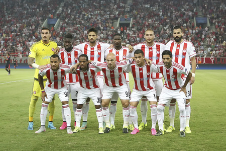 uefa: Athens, Greece- September 16, 2015: Group Photo of the team of Olympiacos before the beginning of the UEFA Champions League game between Bayern and Olympiacos, in Athens, Greece.