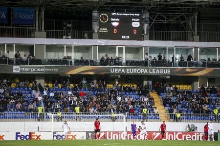 europa: Azerbaijan, Baku - September 17, 2015: UEFA Europa League game between Qabala and PAOK, in Baku, Azerbaijan.