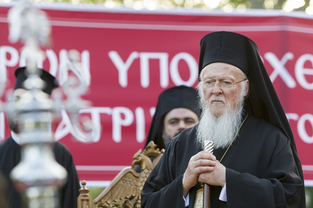 Serres, Greece – April 17, 2015: Ecumenical Patriarch Bartholomew visits Serres at the Church of St. Theodore, which will perform a memorial service for the late Metropolitan of Serres Apostle. Editorial