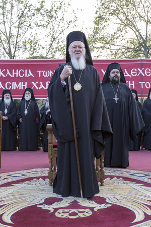 saintliness: Serres, Greece – April 17, 2015: Ecumenical Patriarch Bartholomew visits Serres at the Church of St. Theodore, which will perform a memorial service for the late Metropolitan of Serres Apostle.