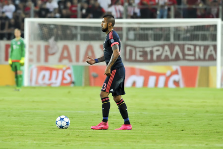 arturo: Athens, Greece- September 16, 2015: Arturo Vidal during the UEFA Champions League game between Olympiacos and Bayern, in Athens, Greece.