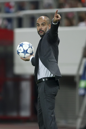 josep: Athens, Greece- September 16, 2015: Coach Josep Guardiola of Bayern Munchen during the UEFA Champions League game between Olympiacos and Bayern, in Athens, Greece.