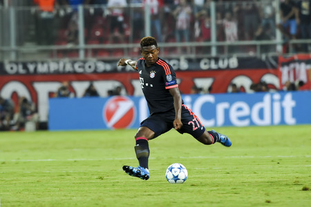 uefa: Athens, Greece- September 16, 2015: David Alaba during the UEFA Champions League game between Olympiacos and Bayern, in Athens, Greece.