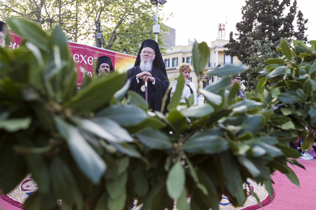 liturgy: Serres, Greece – April 17, 2015: Ecumenical Patriarch Bartholomew visits Serres at the Church of St. Theodore, which will perform a memorial service for the late Metropolitan of Serres Apostle.