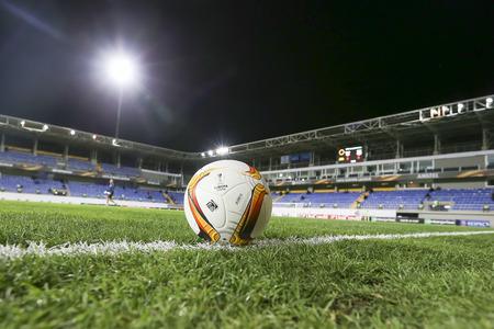 europa: Azerbaijan, Baku - September 17, 2015: The official game ball of UEFA Europa League game between Qabala and PAOK, in Baku, Azerbaijan.