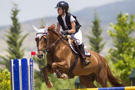 Thessloniki, Grecia, 14 giu 2015: cavaliere sconosciuto su un cavallo durante le partite di equitazione concorrenza ostacoli rotonde Editoriali