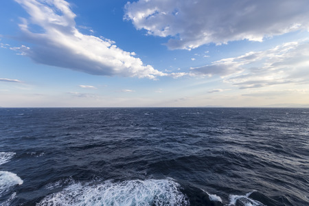 composure: Blue sky with clouds over sea. Nature composition. Stock Photo