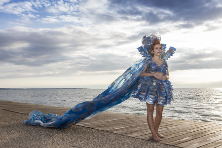 trash the dress: Thessaloniki, Greece, 28 September 2015. Models walk an during  outdoor fashion show with clothing made out of recycled materials was held in the seafront promenade of Thessaloniki