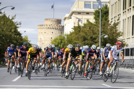 thessaloniki: Thessaloniki, Greece, September 29 2015. Cyclists compete in the central streets of Thessaloniki during the course of the 3rd International Circuit Editorial