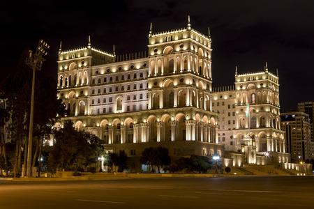 baku: Azerbaijan, Baku - September 16, 2015: The Government house of Azerbaijan at night in Baku, Azerbaijan. Editorial