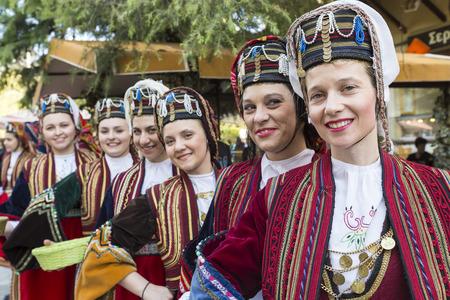 thessaloniki: Thessaloniki, Greece- April 17, 2015: Folk dancers from the Crete club at the parade in Thessaloniki, Greece.