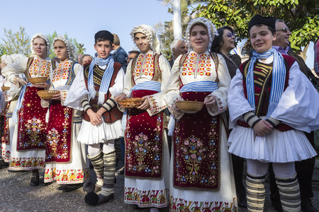 greece: Thessaloniki, Greece- April 17, 2015: Folk dancers from the Crete club at the parade in Thessaloniki, Greece.
