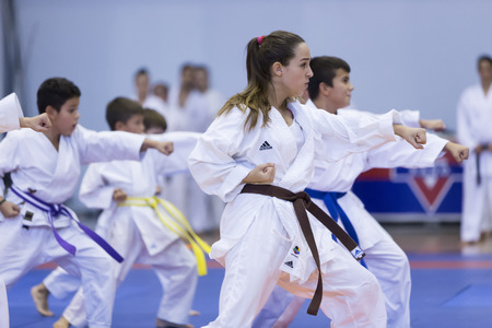 karate: Thessaloniki, Greece, Oktober18 2015: Demonstration by men and women faculties of Japanese traditional martial arts, judo, karate, aikido, kendo