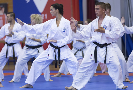 Thessaloniki, Greece, Oktober18 2015: Demonstration by men and women faculties of Japanese traditional martial arts, judo, karate, aikido, kendo Zdjęcie Seryjne - 46841300