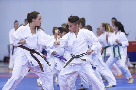 Thessalonique, Grèce, Oktober18 2015: Démonstration par les hommes et les femmes facultés des arts japonais traditionnels martiaux, le judo, le karaté, l'aïkido, kendo