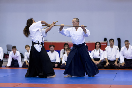 martial: Thessaloniki, Greece, Oktober18 2015: Demonstration by men and women faculties of Japanese traditional martial arts, judo, karate, aikido, kendo