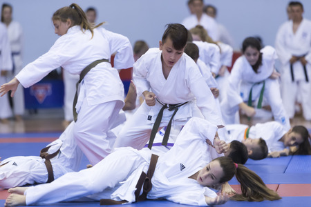 judo: Thessaloniki, Greece, Oktober18 2015: Demonstration by men and women faculties of Japanese traditional martial arts, judo, karate, aikido, kendo