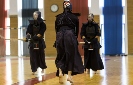 kendo: Thessaloniki, Greece, Oktober18 2015: Demonstration by men and women faculties of Japanese traditional martial arts, judo, karate, aikido, kendo