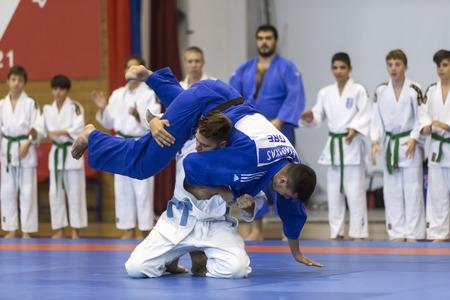 karate boy: Thessaloniki, Greece, Oktober18 2015: Demonstration by men and women faculties of Japanese traditional martial arts, judo, karate, aikido, kendo