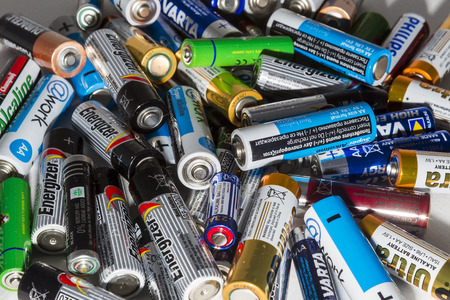 recycling: Thessaloniki, Greece- March 26, 2015: Different types of used batteries ready for recycling lying in a heap at a recycling center in Thessaloniki, Greece.