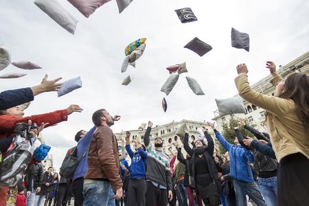 thessaloniki: Thessaloniki, Greece- April 5, 2015: International pillow fight in Thessaloniki, Greece.