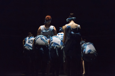 balletic: Thessaloniki, Greece, May 15 2015:  Unidentified dancers of dance school during performances ballet state theatre of Thessaloniki