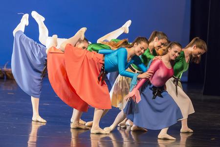 modern ballet dancer: Thessaloniki, Greece, May 15 2015:  Unidentified dancers of dance school during performances ballet state theatre of Thessaloniki