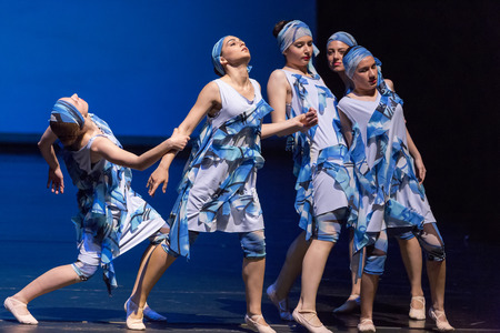 pirouette: Thessaloniki, Greece, May 15 2015:  Unidentified dancers of dance school during performances ballet state theatre of Thessaloniki