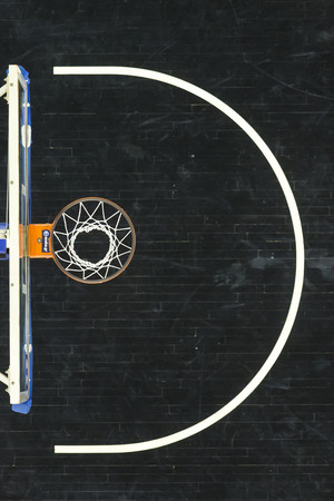 hoop: Thessaloniki, Greece, Novebmer 2, 2015: Basketball falls through the net  during the Greek Basket League game Paok vs Olympiakos Editorial
