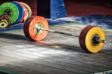 Thessaloniki, Greece, Oct 3 2015: Closeup barbell plates ready during the course of the Greek Weightlifting Championship